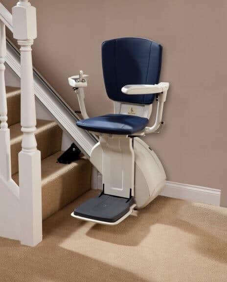 HomeGlide Extra Straight Stairlift from 1st Choice Stairlifts in blue upholstery