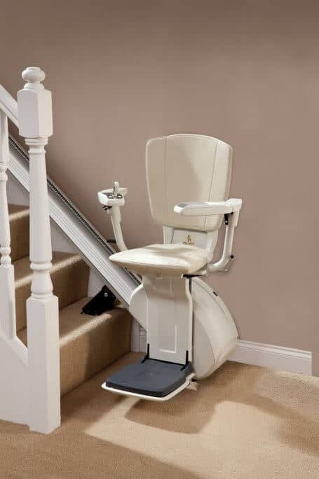 HomeGlide Extra Straight Stairlift from 1st Choice Stairlifts in cream upholstery