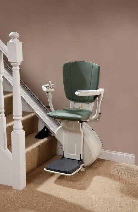 HomeGlide Extra Straight Stairlift from 1st Choice Stairlifts in green upholstery