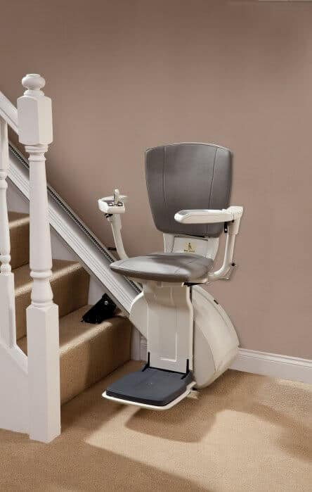 HomeGlide Extra Straight Stairlift from 1st Choice Stairlifts in grey upholstery