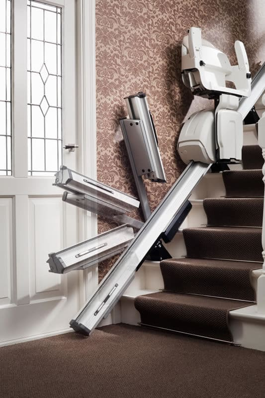 HomeGlide Straight Stairlift from 1st Choice Stairlifts powered hinge rail