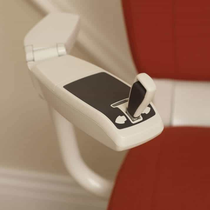 Flow Curved Stairlift from 1st Choice Stairlifts long joystick