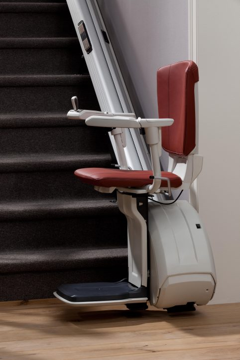 HomeGlide Extra unfolded at bottom of stairs ready for use