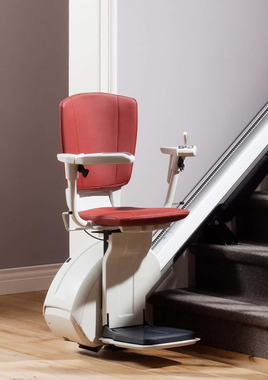 HomeGlide Extra Stairlift with Red upholstery