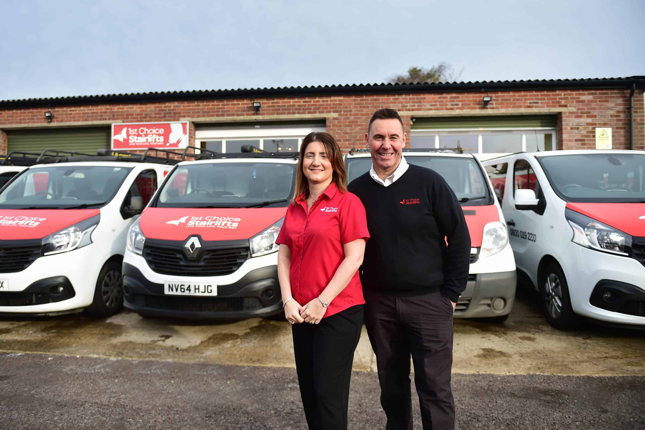 1st Choice Stairlifts Company Directors with vans